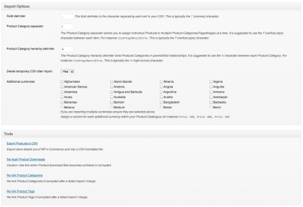 The Settings screen includes options to alter the default formatting and behaviour of import files.