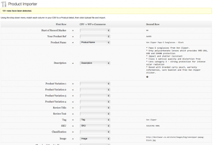 Link CSV columns to WooCommerce Product fields and review the Import Options.