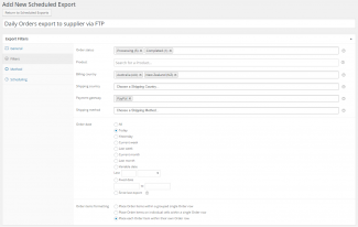 From the Filters tab we control what Orders we want included in the Scheduled Export.