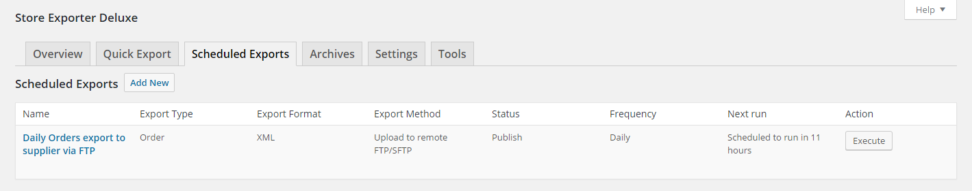 Our Scheduled Export is ready to go! We can click the Execute to force the Scheduled Export to run now to test it.