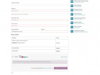 The Checkout screen with user registration and PayPal payment option