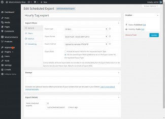 Changing the export type, export format or export method triggers new fields to be visible