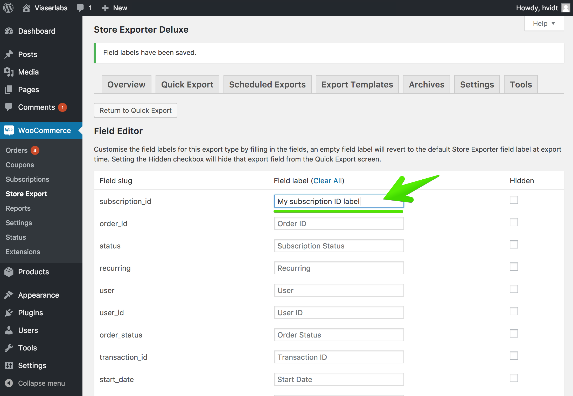 Customize fields in WooCommerce for exporting
