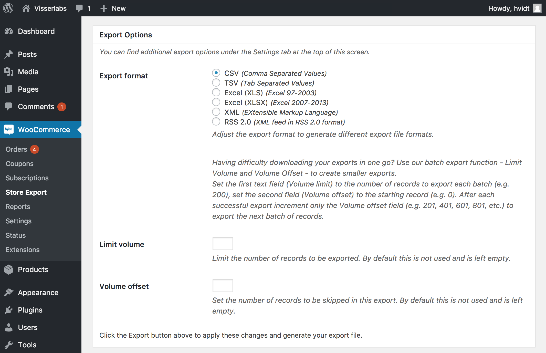 Export WooCommerce as CSV, Excel, TSV