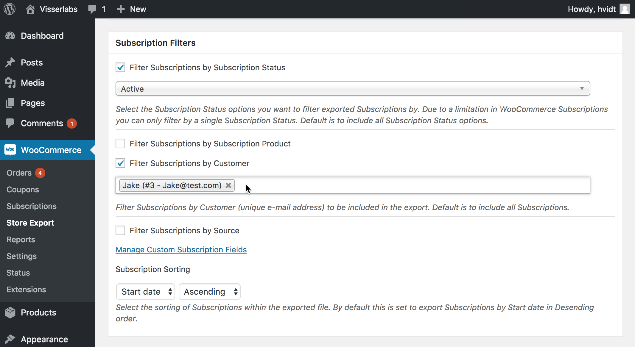Filter specific export data for WooCommerce Subscriptions
